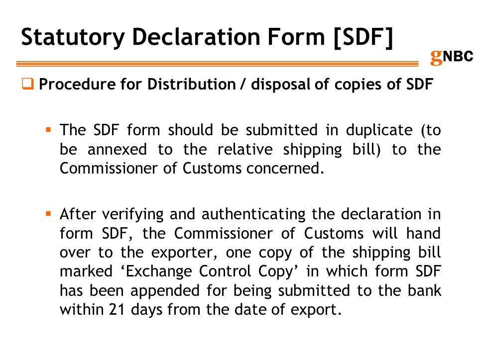 Statutory Declaration Form [SDF]